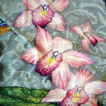 """Orchids and butterflies. Pearly grey backdrop and tenderly pink orchids. Vivid, exquisite Butterfly Handkerchief from thin crepe de chine, hand-painted in """"cold batik"""" technique"""