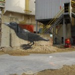 An image of a black crow decorates the construction