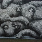 Sleeping bears. One-of-a-kind Street art by Belgian graffiti artist Roa