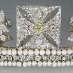 The Diamond Diadem, which Her Majesty wore for the journey from Buckingham Palace to Westminster Abbey, will go on display
