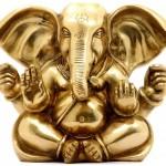 Tryakshara Ganapati in Delightful Disposition. Brass Sculpture