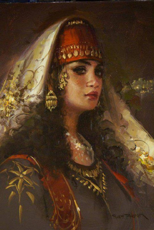 Gypsy Woman Painting Beauty will save, Viol...