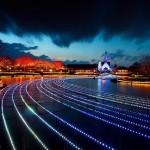 Illuminated road. The world's largest light installation 'Winter light' in Japan