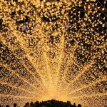 Inside the tunnel. The world's largest light installation 'Winter light' in Japan