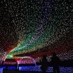 Impressive tunnel. The world's largest light installation 'Winter light' in Japan