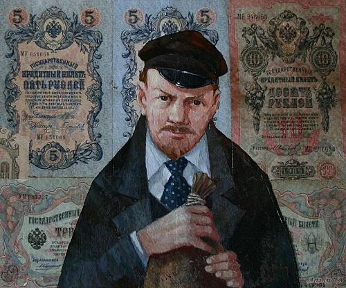 Wolf Blank and gold for 'organizing revolution'. Money power by Oleg Demko