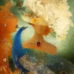 Blue peacock. Painting by Belarusian artist Elena Shlegel