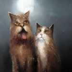 A couple of cats. Painting by Russian artist Igor Medvedev