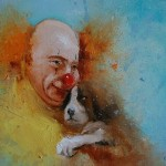 Red clown with his dog. Painting by Russian artist Igor Medvedev