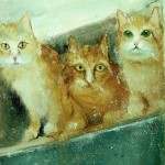 Three cats. Eyes that talk to you. Painting by Russian artist Igor Medvedev