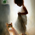 A girl and a cat. Eyes that talk to you. Painting by Russian artist Igor Medvedev