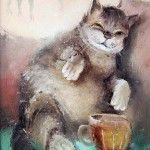 A cat and a cup. Eyes that talk to you. Painting by Russian artist Igor Medvedev