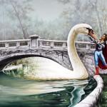 White swan. Painting by Romanian artist Mihai Criste
