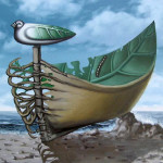 Leaf-boat. Painting by Romanian artist Mihai Criste