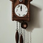 Cuckoo clock. Painting by Romanian artist Mihai Criste