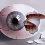 Egg eye. Painting by Romanian artist Mihai Criste