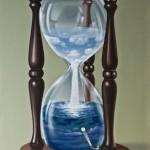 Sand clock. Painting by Romanian artist Mihai Criste