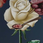 Rose cup. Painting by Romanian artist Mihai Criste