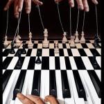 Chess-piano. Painting by Romanian artist Mihai Criste