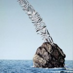 Birds on the rock. Painting by Romanian artist Mihai Criste