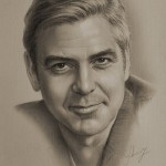 Hollywood star George Clooney. Pencil portrait by Krzysztof Lukasiewicz