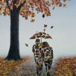 Autumn promenade. Painting by Romanian artist Mihai Criste