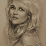 Reese Witherspoon. Pencil portrait by Polish Illustrator Krzysztof Lukasiewicz