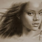 Barbadian singer Rihanna. Pencil portrait by Polish Illustrator Krzysztof Lukasiewicz
