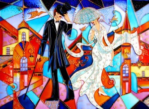 """""""Chance meeting"""" stained glass reproduction."""