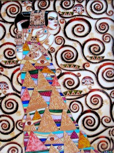 """Waiting for"" free stained glass reproduction by work of Gustav Klimt"