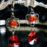Delicate artificial ruby earrings