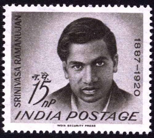 postage stamp in honor of Indian maths genius Srinivasa Ramanujan