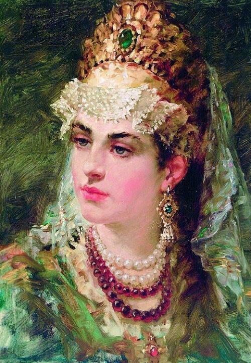 1900 Beautiful female portrait from the series 'Russian Boyaryshnya'