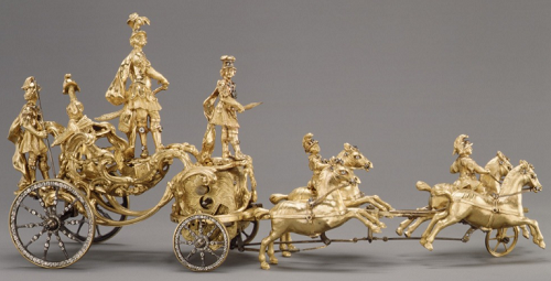 Automaton in the Form of a Triumphal Chariot Drawn by Four Horses. 1760–70, Bronze-gilt, brilliants
