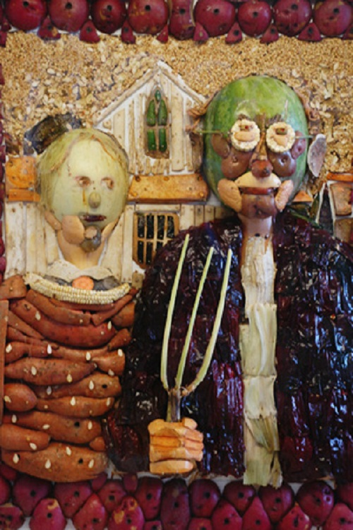 American Gothic. Food Sculptures by American artists Jim Victor and his wife Marie Pelton