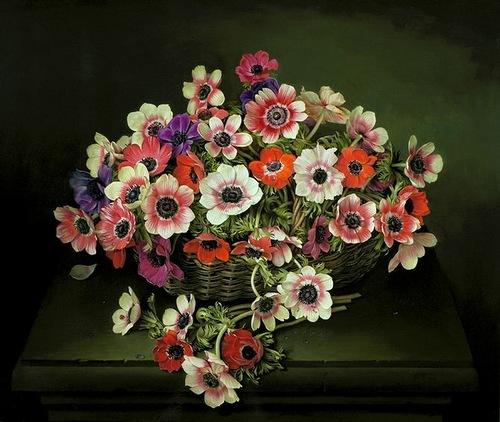 Basket with flowers, Jose Escofet beautiful flower paintings