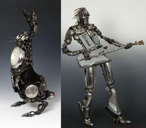 Car parts sculptures made by Australian artist James Corbett
