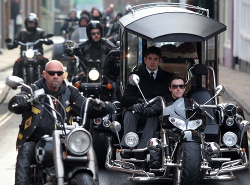 Passionate British biker stylish funeral
