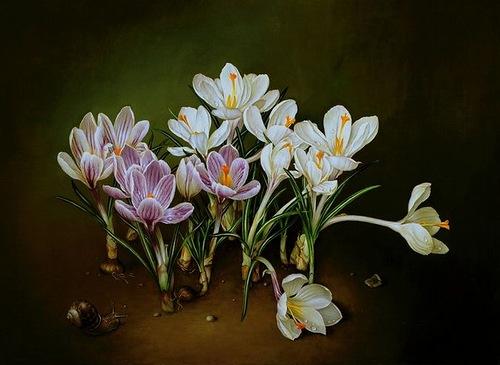 Crocuses, painting by Spanish artist Jose Escofet