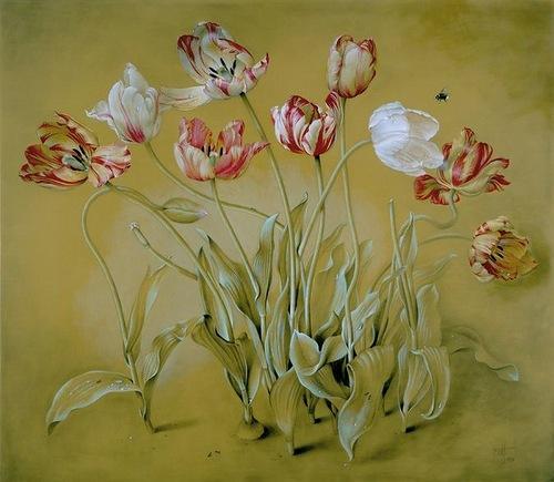 Garden tulips, painting by Spanish artist Jose Escofet