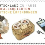 "Gramophone by Emil Berliner on a German stamp of 2011 from the series ""in Germany at home. imagination – German inventions"""