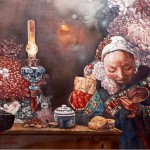 In the Shadow of the Red light. Beautiful painting by Chinese mixed media artist Liu Hong Yuan