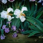 Irises, painting by Spanish artist Jose Escofet