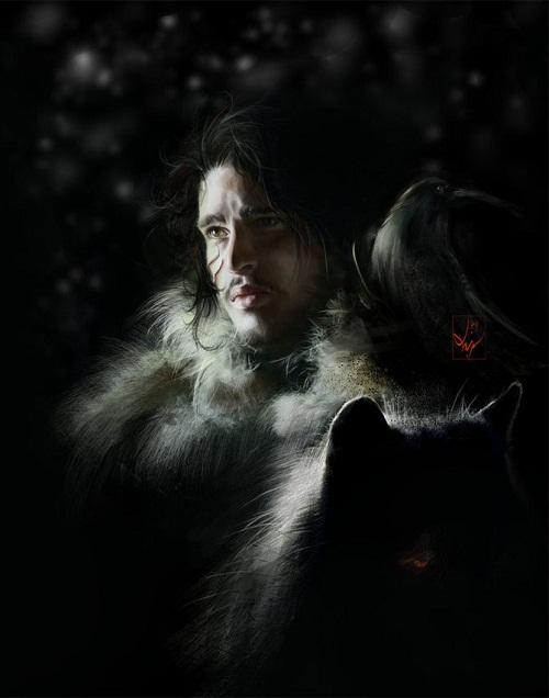 Kit Harington as Jon Snow , Game of Thrones fan art. Digital art by Ania Mitura