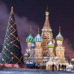 Beautiful view of Red Square. New Year's day and Christmas celebration at Kremlin Palace
