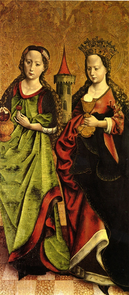Left - saint is St. Barbara, right saint, with roses or cherry - possibly St. Dorothea', Date 15th century. Author Meister der Bendaschen