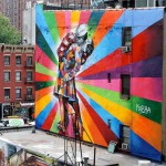 Mural by Eduardo Kobra on Alfred Eisenstaedt's photo, V-J Day in Times Square. Chelsea, NYC, USA.