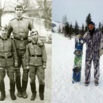 Nikolai Valuev's old photographs, in the army (left) and now (right)