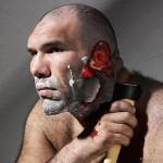 Nikolai Valuev, shaving