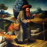 A man on a bridge. 17th century people in portraits of painter Boris Shapiro, Israel